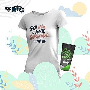 Kit Copo e Camiseta Feminina Branca Desafio Mães