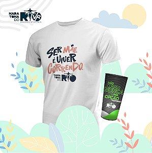 Kit Copo e Camiseta Masculina Branca Desafio Mães