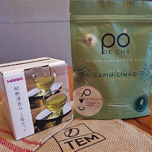 Kit Copos de vidro Hario para Café e Chá (2 unidades) + Pó de Chá Capim Limão