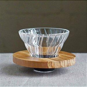 Suporte de filtro de vidro V60 Hario Olive Wood