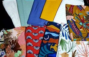 coleção premium kit 3 kg de tecidos planos + AVIAMEMTO DE BRINDE