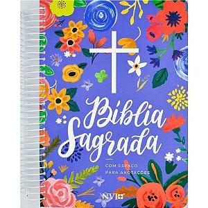 Bíblia Sagrada Anote NVI Espiral Azul Feminina Anotações