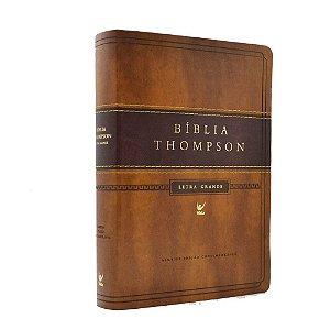Bíblia De Estudo Thompson Grande Marrom Luxo Dourada Com índice
