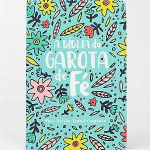 Bíblia da Garota de Fé NVT Capa Dura Estampa Jardim Floral Azul