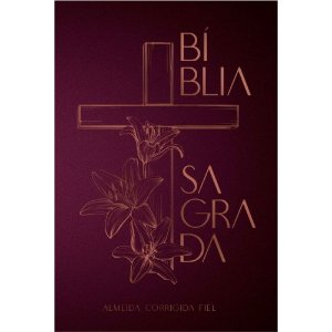 Bíblia Sagrada Capa Dura Cruz Floral Roxo com Dourado Leitura Perfeita