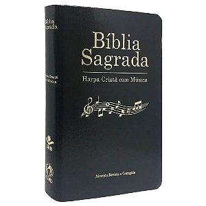 Bíblia Sagrada Harpa com Musica Capa Luxo Preta