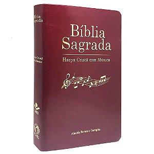 Bíblia Sagrada Harpa com Musica Capa Luxo Vinho