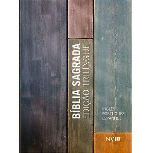 Bíblia Sagrada Edição Trilíngue Capa Brochura Neutra