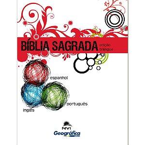 Bíblia Sagrada Edição Trilíngue - Capa Brochura Branca