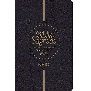 Bíblia Sagrada NVI Extra Gigante Preta Luxo Nova Ortografia
