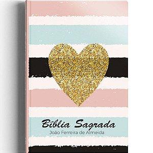 Biblia Sagrada Almeida Revista Corrigida Semi luxo Coração