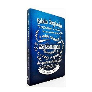 Bíblia Sagrada Acf  Média Capa Dura Slim Lettering Azul