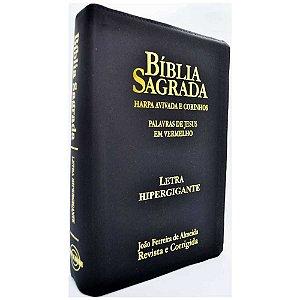 Bíblia Sagrada Letra Hipergigante Revista e Corrigida Harpa e Corinhos Zíper Preta