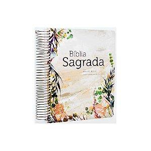 Bíblia Sagrada Anote Plus ARC Letra Grande Espiral Capa Dura Flor Marmorizada