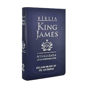 Bíblia King James Atualizada 400 Anos Letra Hipergigante - Média Luxo Azul