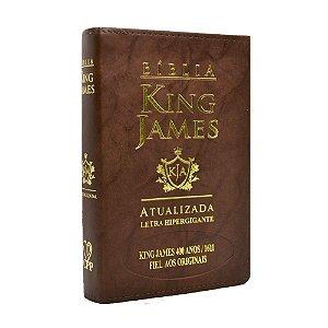 Bíblia King James Atualizada 400 Anos Letra Hipergigante - Média Luxo Marrom