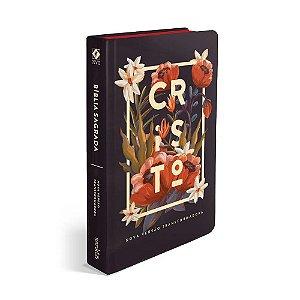 Bíblia Sagrada NVT Média Capa Soft Touch Flores Tropicais Cristo Preta