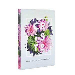 Bíblia Sagrada NVT Média Capa Soft Touch Flores Tropicais Cristo
