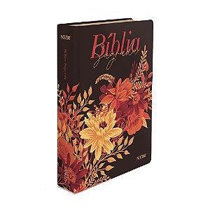 Bíblia Sagrada Letra Gigante NVI Média Capa Soft Touch Buquê Preta