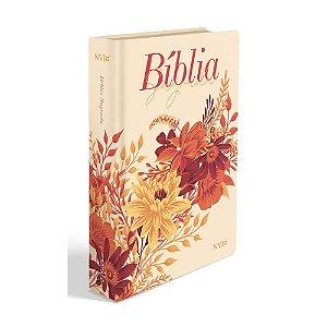 Bíblia Sagrada Letra Gigante NVI Média Capa Soft Touch Buquê Creme