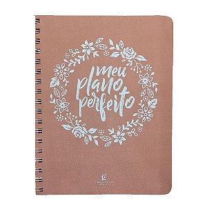 Agenda Feminina Meu Plano Perfeito Planner Capa Tecido Rosa