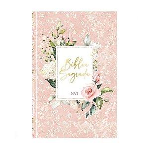 Bíblia Sagrada NVI Média Capa Dura Soft Touch Flores Rosa