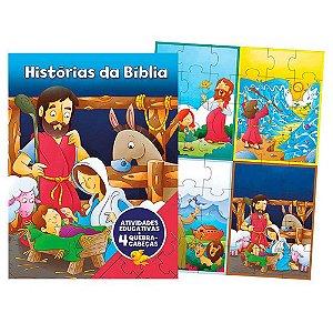 Livro Aprender Brincando, Histórias da Bíblia, Atividades Educativas e 4 Quebra-cabeças - Raquel Almeida