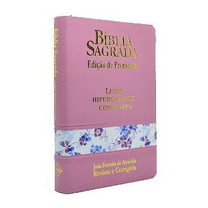 Bíblia Sagrada Letra Hipergigante Com Harpa Média Zíper Rosa Claro Flores