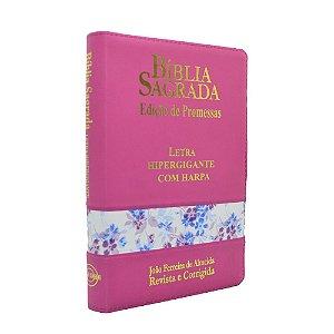 Bíblia Sagrada Letra Hipergigante Com Harpa Média Zíper Pink Flores