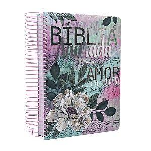Bíblia Anote NVI Espiral Flor Artística