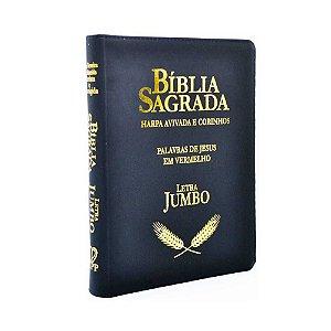 Bíblia Sagrada Letra Jumbo RC Harpa E Corinhos Luxo Preta