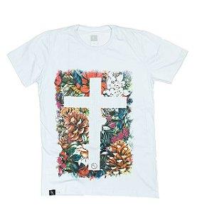 Camiseta - Flores e cruz