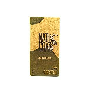 CHOCOLATE BARRA 70% COM LICURI - NATUCOA