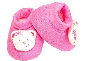 Sapatinho de Suedine com Aplique de Carinha Cheia com Bordado Pink