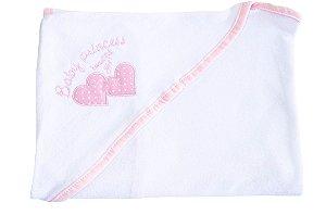 Toalha de Banho Branco/Rasa com Capuz em Esponja com Bordado