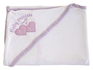 Toalha de Banho Branco/Lilás com Capuz em Esponja com Bordado