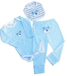 Kit Body + Culote + Babador em Meia Malha Azul/Branco com Bordado