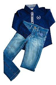 """Conjunto de Camisa e Calça Jeans """"Coroa"""""""