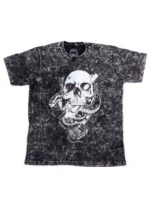 Camiseta Black Flag Skull, Snake n Guns