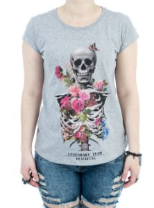 Camiseta Black Flag Bones and Flowers