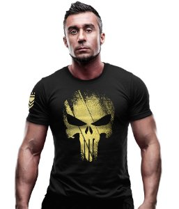 Camiseta Estampa Dourada Punisher