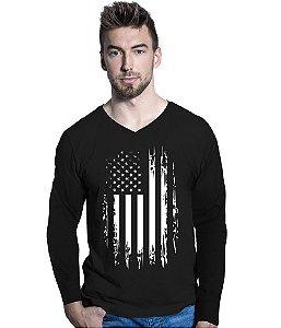 Camiseta Manga Longa EUA Defense