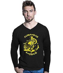 Camiseta Manga Longa Comandos Anfíbios