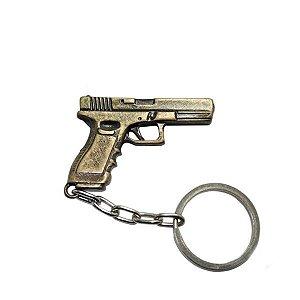 Chaveiro de Metal Pistola Glock - Cromado ou Dourado