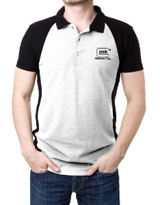 Camisa Gola Polo Duas Cores - Branco e Preto Glock Perfection