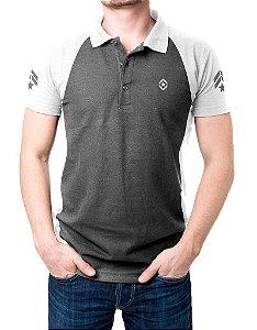 Camisa Gola Polo Tática Militar - Cinza e Branco