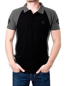 Camisa Gola Polo Tática Militar - Preto e Cinza