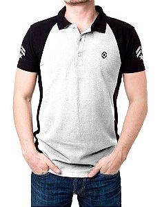 Camisa Gola Polo Tática Militar - Branco e Preto