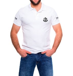 Camisa Masculina Gola Polo Branca Israel Defense Forces