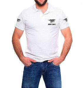 Camisa Masculina Gola Polo Branca Navy Seals